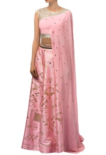 baby-pink-metallic-printed-lehenga-hand-embroidered-blouse-with-attached-drape