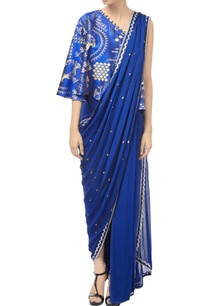 royal-blue-asymmetric-off-shoulder-saree-gown