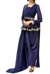 navy-blue-satin-georgette-peplum-blouse-with-attached-drape-dhoti-skirt