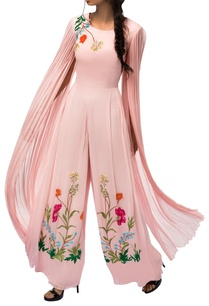 sorbet-pink-embroidered-jumpsuit-with-exaggerated-sleeves