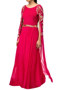 fuchsia-pink-raw-silk-crepe-silk-gown-with-exaggerated-sleeves