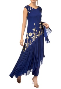 navy-blue-georgette-asymmetric-kurta-with-cotton-pants