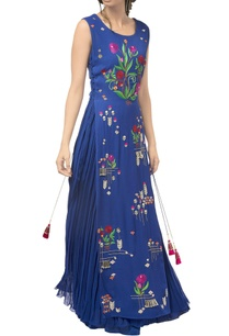 navy-blue-georgette-floral-gown