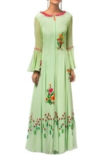 green-georgette-sequin-embroidered-long-kurta-with-palazzos