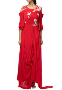 red-cape-sleeve-asymmetric-style-dress