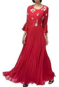 red-georgette-resham-moti-stone-embellished-gown