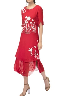 red-georgette-silk-draped-resham-embroidered-midi-dress