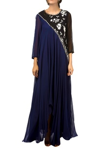 navy-blue-black-asymmetric-flared-gown