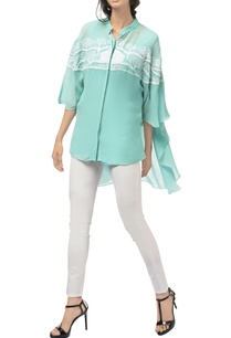 turquoise-georgette-silk-cape-sleeves-tunic