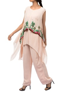 pink-georgette-asymmetric-layered-tunic-with-pants