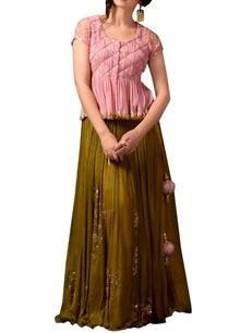 pink-peplum-top-green-sequin-skirt