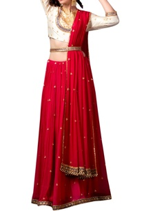 red-silk-lehenga-with-belt