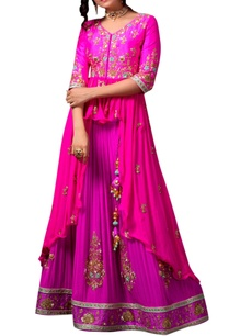 pink-peplum-top-purple-lehenga
