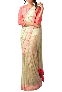 green-peach-french-knot-sari-blouse