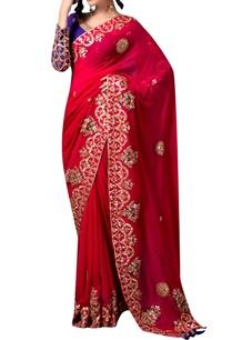 red-gota-sari-with-purple-blouse