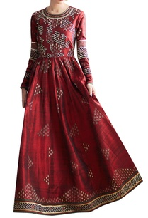 maroon-embroidered-flared-dress