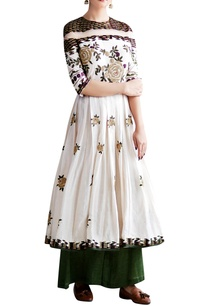 white-green-floral-embroidered-anarkali-set