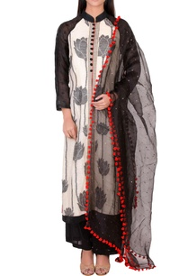 black-white-embellished-kurta-set
