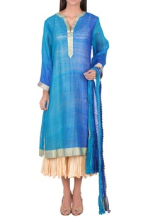 blue-kurta-with-silver-border-set