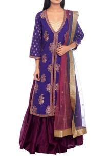 purple-pathani-style-kurta-lehenga