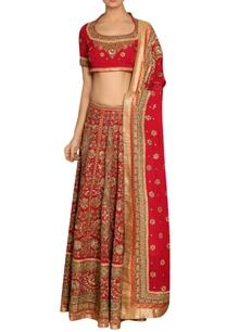 red-embroidered-silk-lehenga