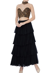 black-bustier-tiered-maxi-skirt