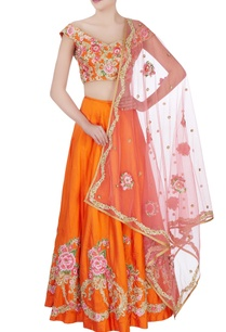 tangerine-orange-floral-embroidered-lehenga-set