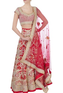 red-sequin-floral-bridal-lehenga-set