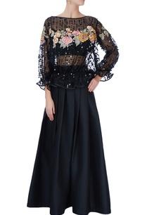 black-floral-blouse-lehenga