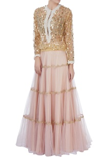 gold-sequin-blouse-tiered-lehenga