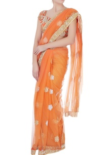 orange-sequin-sari-with-blouse-petticoat