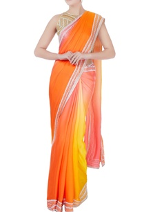 orange-ombre-sari-with-blouse-petticoat