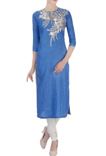 blue-kurta-in-floral-thread-embroidery