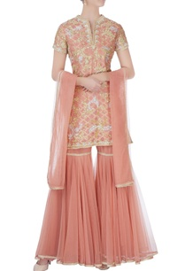 peach-kurta-with-sharara-pants-dupatta
