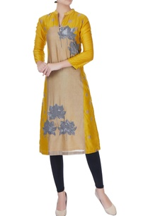 mustard-yellow-lotus-motif-kurta