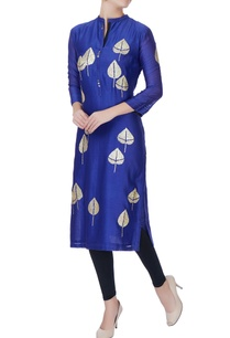 blue-leaf-embroidered-kurta