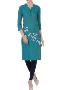 teal-blue-floral-embroidered-kurta