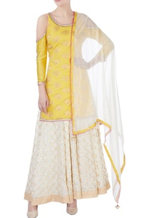 yellow-cold-shoulder-kurta-palazzo-set