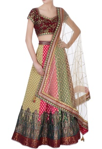 multicolored-banarasi-silk-lehenga-set