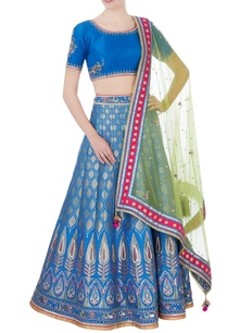 blue-banarasi-silk-lehenga-set