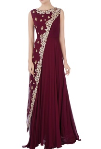 burgundy-layered-sequin-gown
