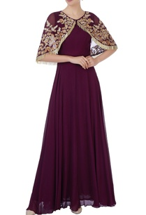 burgundy-gown-with-tassel-cape
