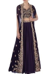 purple-cape-with-blouse-lehenga