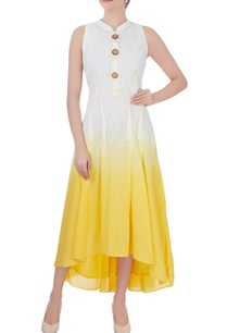 yellow-pleated-high-low-dress