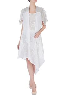 white-printed-asymmterical-dress-with-jacket