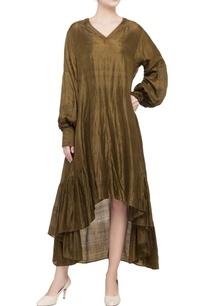 olive-green-shibori-pattern-dress