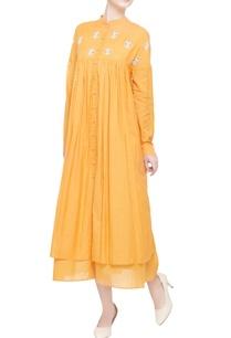 mango-yellow-double-layered-midi-dress