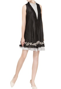 black-embroidered-double-layer-dress