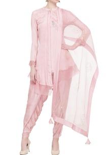pink-asymmetric-silk-kurta-dhoti-set