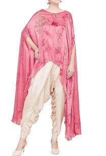 pink-cape-beige-dhoti-pants